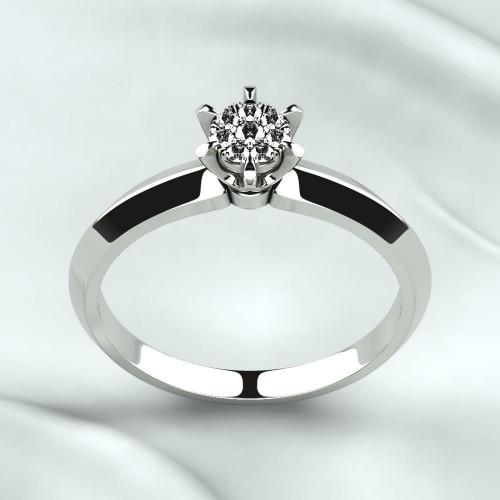 Золотое помолвочное кольцо с маленькими бриллиантами 2283176