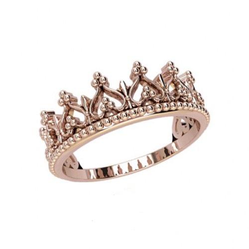 Женское кольцо корона из розового золота с камнями 21126