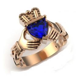 Золотое дизайнерское кладдахское кольцо Blue Heart 310073