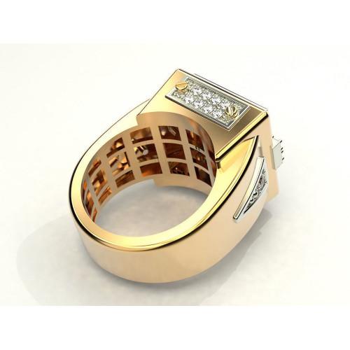 Эксклюзивный мужской перстень с крупным квадратным камнем