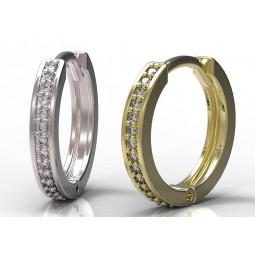 Золотые серьги кольца с бриллиантами 195610