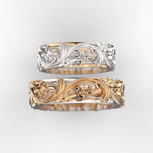 Золотые двухцветные свадебные кольца с узором 765180