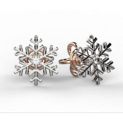 Серьги пусеты в форме снежинки с бриллиантами 2007171