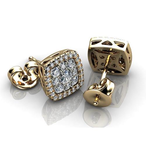 Золотые серьги пусеты с бриллиантами 809472