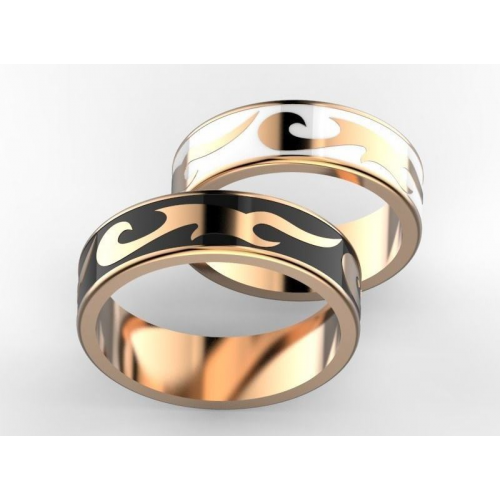 Золотые свадебные кольца с черной и белой эмалью