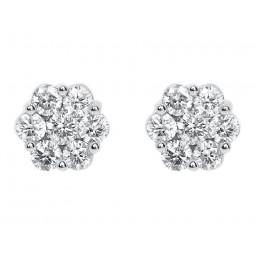 Золотые серьги пусеты с бриллиантами 2212274