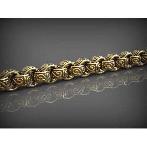 Золотая мужская цепь с круглыми звеньями 184176