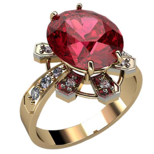 Женское золотое кольцо с крупным фианитом овальной формы 1241