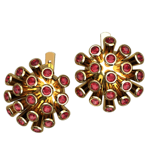 Золотые серьги с красными фианитами 4485
