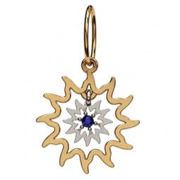Золотой кулон в форме солнца с синим фианитом 6060