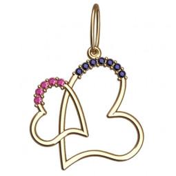 Женский золотой кулон в форме сердец с камнями 6061