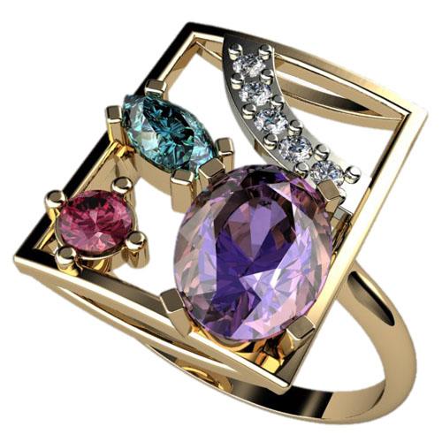 Женское золотое кольцо с разноцветными камнями разной формы 1242