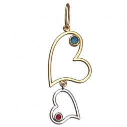Золотой женский подвес в форме сердец с маленькими камнями  6062