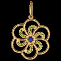 Золотой подвес с синим и зелеными фианитами 6064