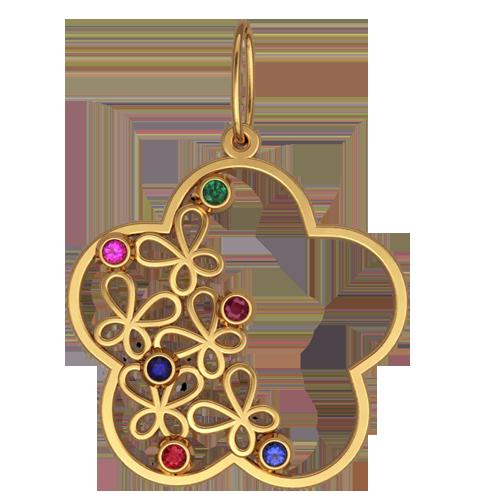 Женский золотой кулон с разноцветными камнями 6067