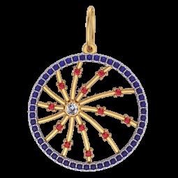 Женский золотой кулон с дорожкой камней по кругу 6073