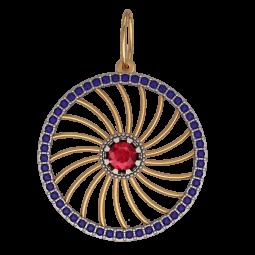 Золотой подвес с красным и синими камнями 6074
