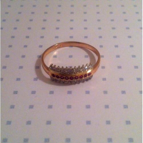 Золотое женское колечко с дорожками камней 1245