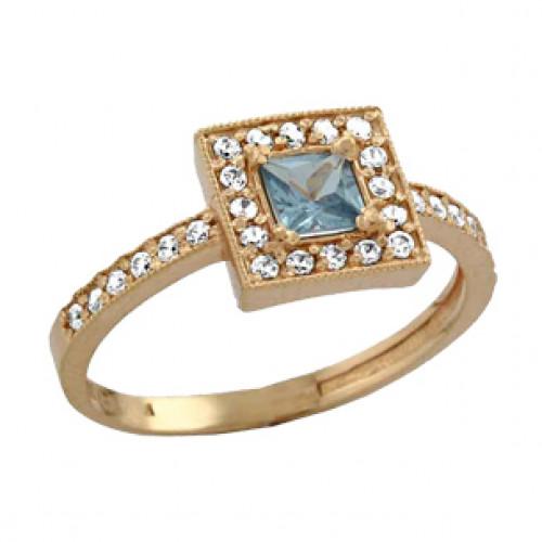 Золотое кольцо с квадратной центральной частью и камнями 100640