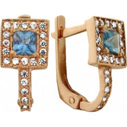 Золотые серьги с белыми и голубыми камнями 100645