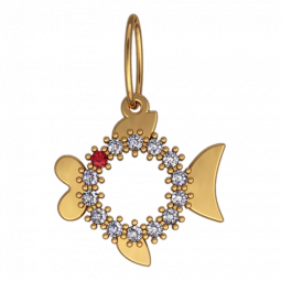 Золотой подвес в форме рыбки с камнями 6101