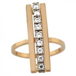 Женское прямоугольное кольцо с дорожкой фианитов 100650