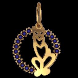 Золотой подвес с дорожкой синих фианитов 6102