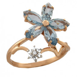 Женское колечко цветочек из камней 100660