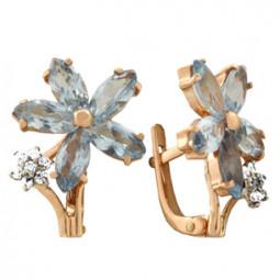 Золотые серьги в форме цветочков из фианитов 100665