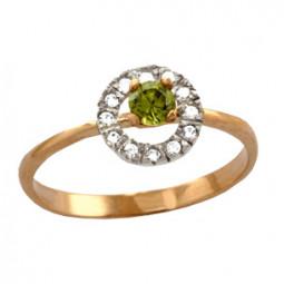 Золотое маленькое колечко с цирконием 100690