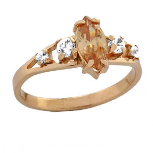 Женское золотое кольцо с овальным камнем в центре 100710