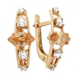 Женские серьги из красного золота с фианитами разной огранки 100715