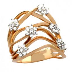 Широкое золотое кольцо с цветами из камней 100730