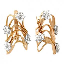 Женские золотые серьги с маленькими белыми фианитами 100735
