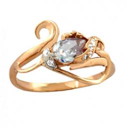 Женское золотое кольцо с овальным камнем 100740