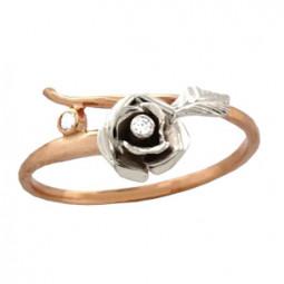 Женское золотое кольцо с цветком из белого золота 100750