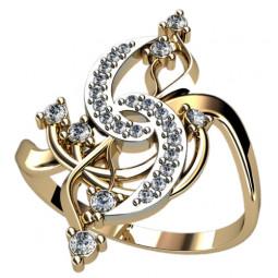 Женское ажурное золотое кольцо с мелкими камнями 1255