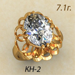 Массивное ажурное золотое кольцо с крупным овальным фианитом кн-54653