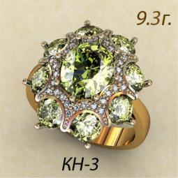 Массивное многокаменное женское кольцо с фианитами разной огранки кн-34363