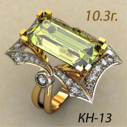 Женское массивное кольцо с крупным фианитом огранки багет кн-13