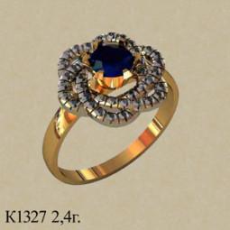 Женское золотое кольцо с крупным синим фианитом по центру 001327