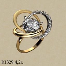 Необычное золотое кольцо с крупным белым камнем 001329