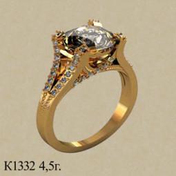 Женский золотой перстень с крупным белым фианитом 001332