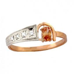 Узкое золотое кольцо с камнями 100760
