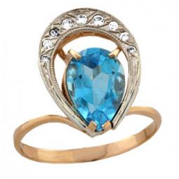 Золотое женское кольцо с крупным и мелкими камнями 100780