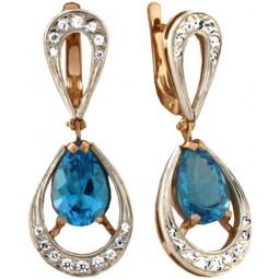 Женские серьги из комбинированного золота с крупными овальными камнями 100785