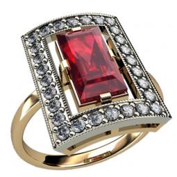 Золотое женское кольцо с большим прямоугольным камнем 1256