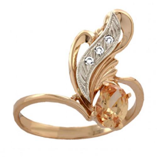 Золотое женское кольцо с накладкой из белого золота 100790