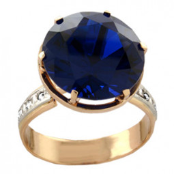 Золотое кольцо с большим круглым камнем 100820