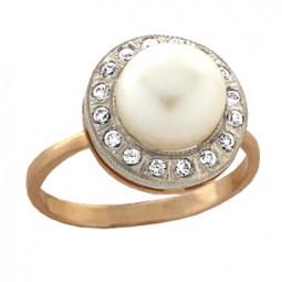 Золотое женское кольцо с жемчугом и фианитами 100850